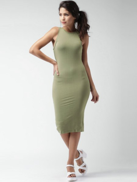 green bodycon midi dress white heeled sandals