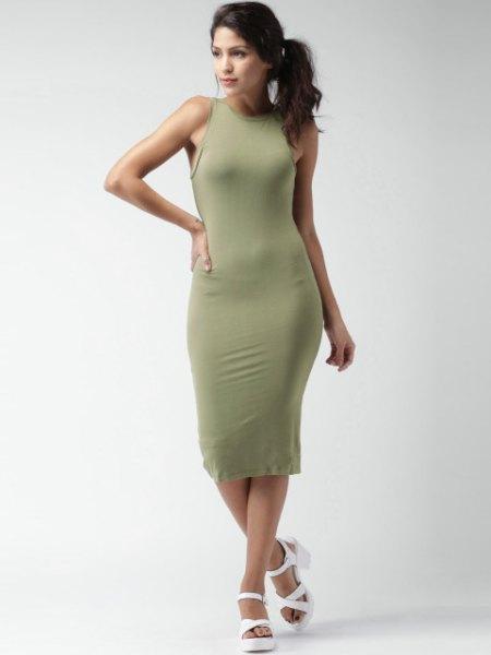 green bodycon midi dress white heeled sandals