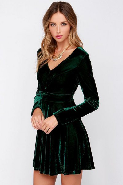 green deep v neck long sleeve skater dress