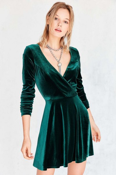 green deep v neck wrap skater dress