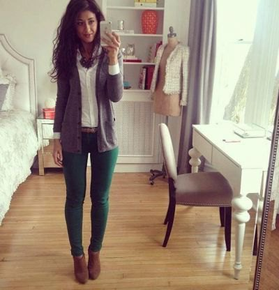green jeans white button up shirt grey cardigan