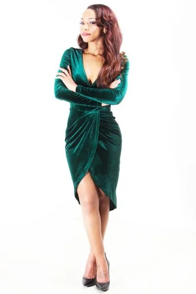 green velvet knee length wrap dress