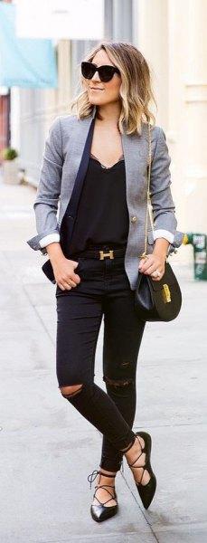 grey blazer all black outfit