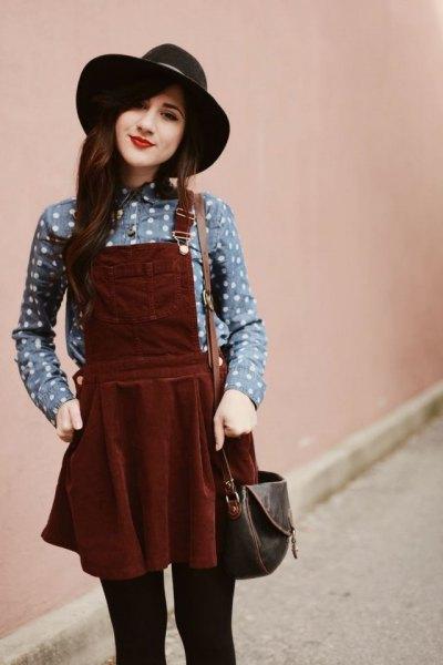 grey polka dot shirt burgundy pinafore dress