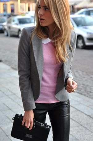 grey sweater black leather pants