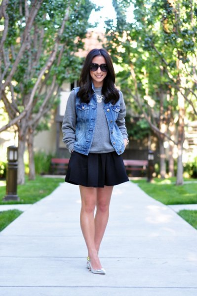 grey sweatshirt black skate skirt