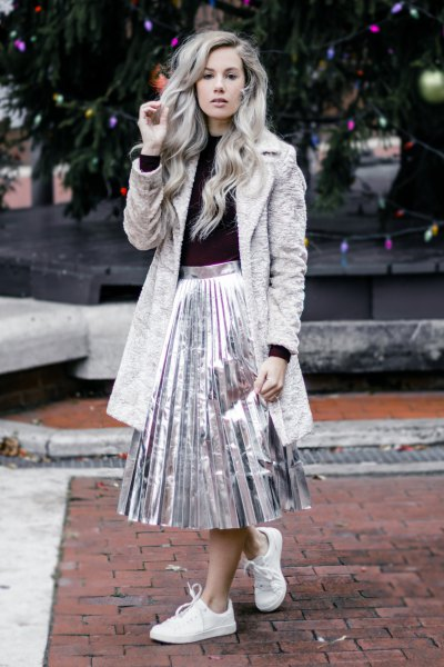 grey teddy coat silver metallic pleated skirt