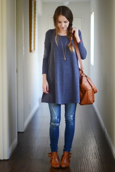 grey tunic dress ripped skinny jeans