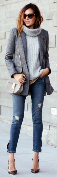 grey turtleneck cable knit sweater