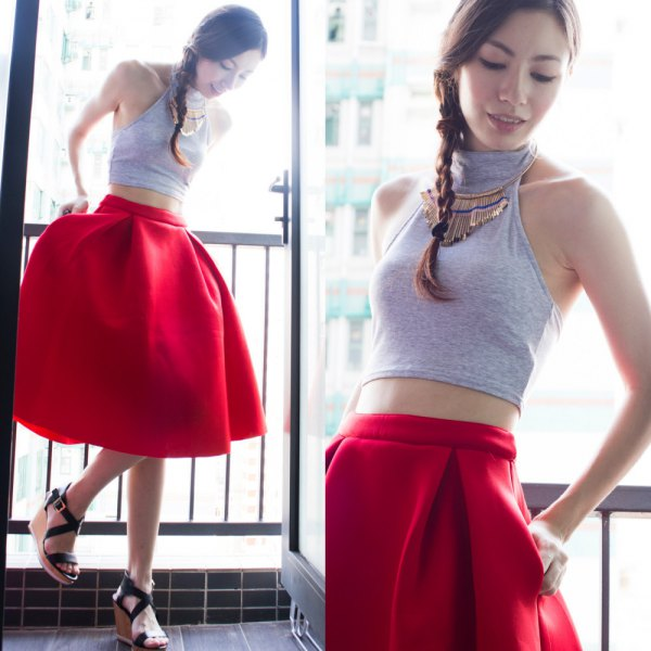 grey turtleneck halter crop top red flare skirt