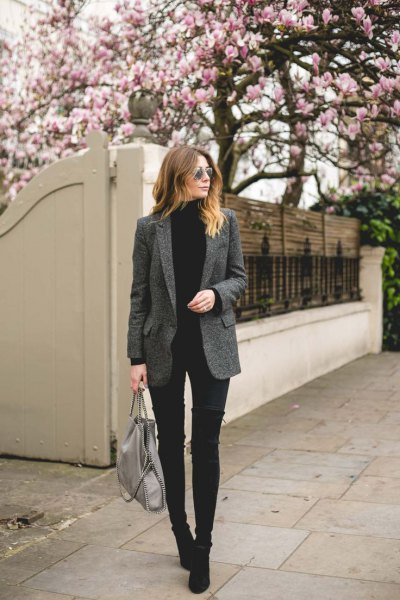 grey tweed blazer black turtleneck sweater