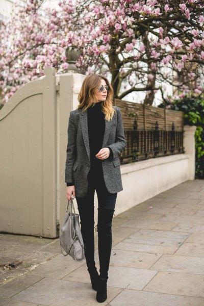 grey tweed blazer black turtleneck sweater