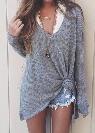 grey v neck sweater denim shorts