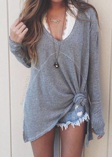 grey v neck sweater denim shorts