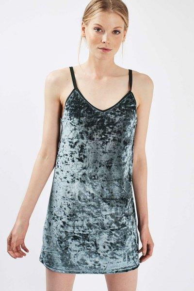 grey velvet slip dress