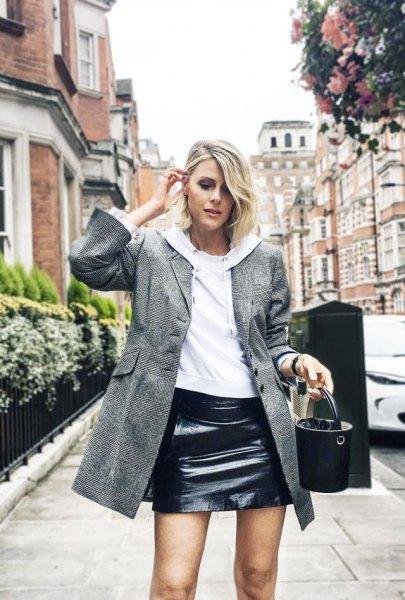 grey wool long jacket black leather skirt