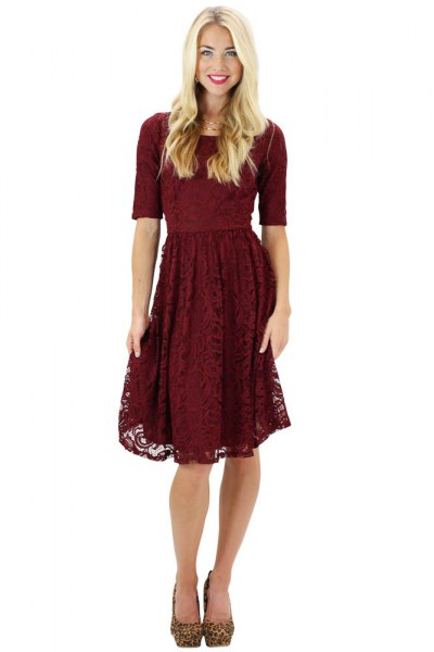 half sleeve fit and flare knee length lace dress