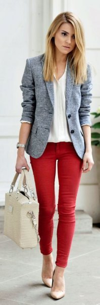 heather grey blazer red skinny jeans