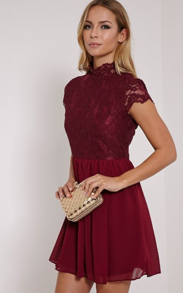 high neck burgundy lace and chiffon skater dress