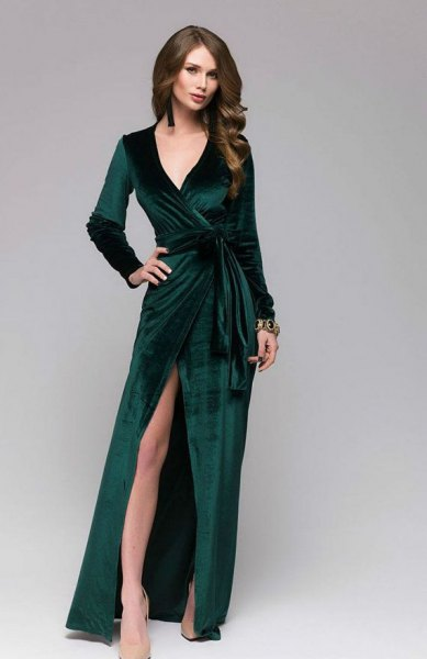 high split floor length wrap dress