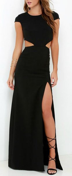 high split maxi dress strappy sandals