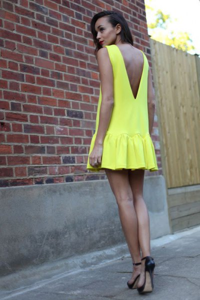 lemon yellow low back pleated mini dress