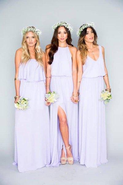light purple gathered waist bridesmaid dress