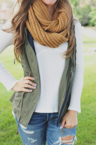 lime green scarf army green vest white sweater