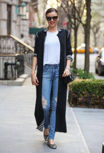 long black cardigan white striped collar