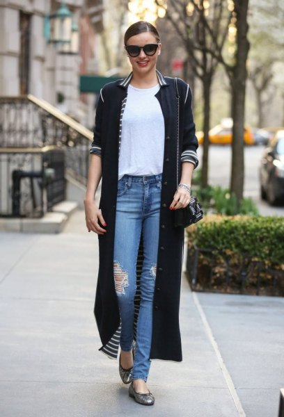 long black cardigan white striped collar
