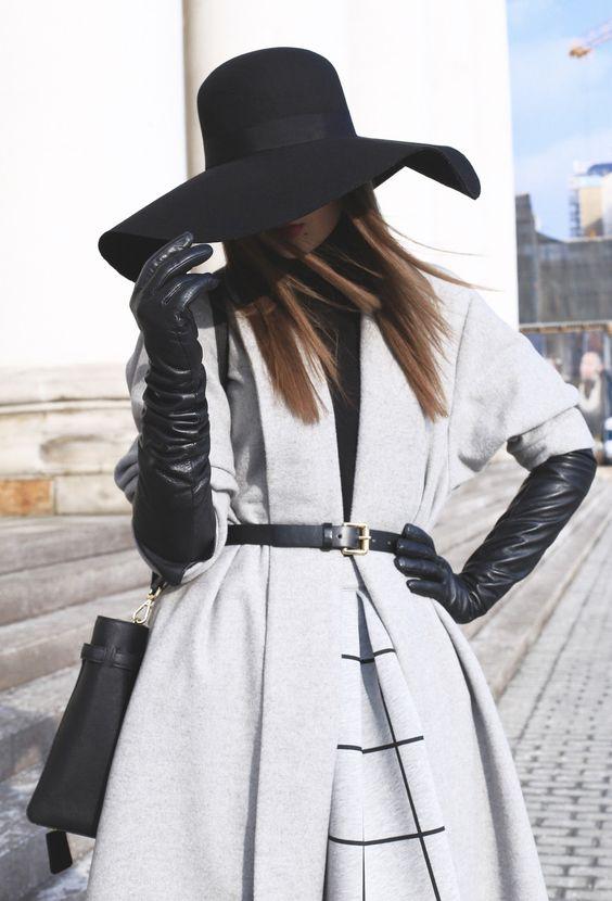 long black gloves grey coat
