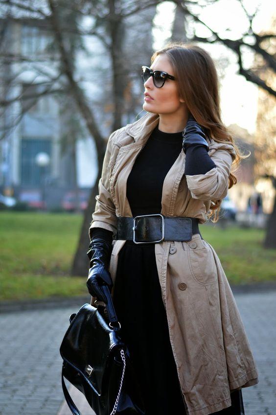long black gloves trench coat