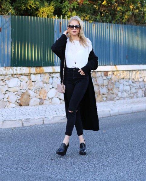 long cardigan white tee black jeans