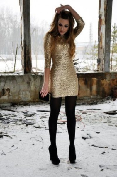 long sleeve gold dress stockings black heels