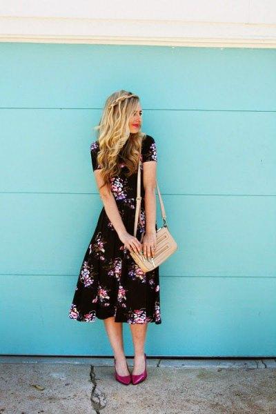 midi floral dress pale pink purse