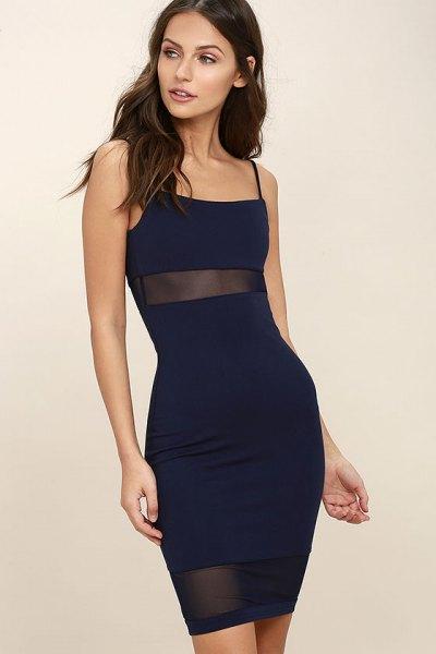 navy dress semi sheer mesh stripes