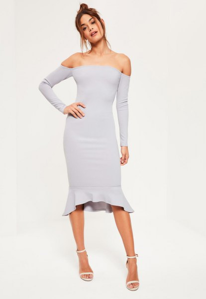 off the shoulder grey bodycon midi dress