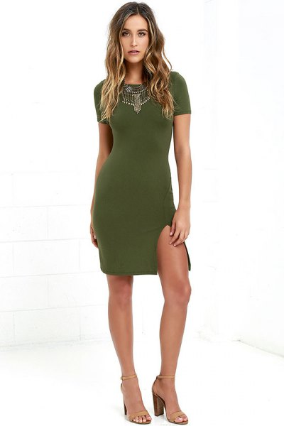 olive green bodycon dress statement necklace
