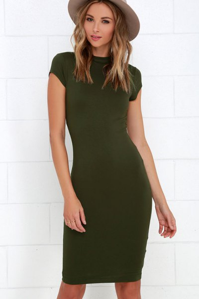 olive green bodycon knee length dress green felt hat