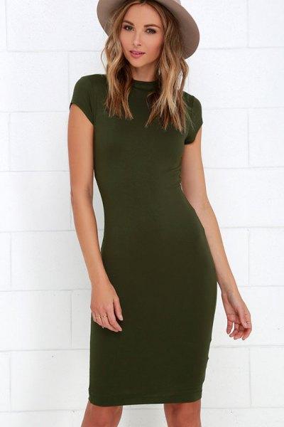 olive green bodycon knee length dress green felt hat