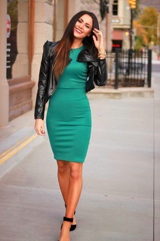 olive green dress black leather jacket