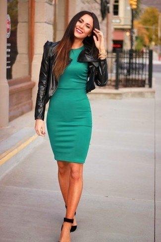 olive green dress black leather jacket