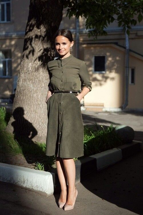olive green dress button down