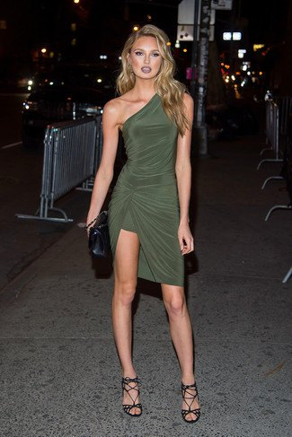 olive green one shoulder wrap dress