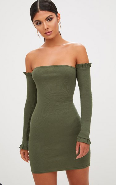 olive green tube dress matching long sleeves