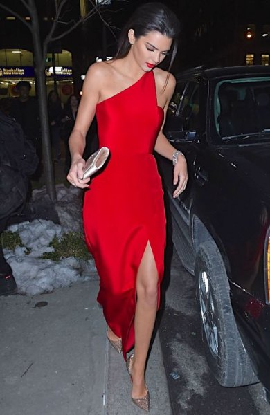 one shoulder high split red dress