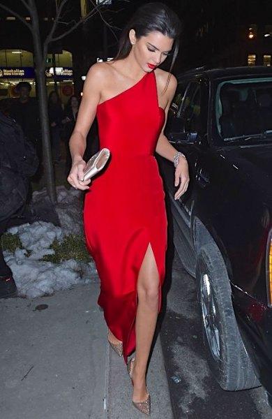 one shoulder high split red dress