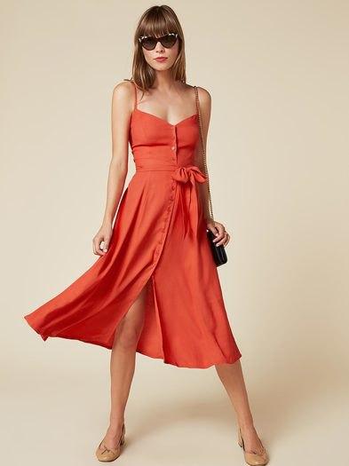 orange button front sweetheart midi dress