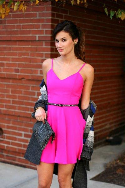 pink belted spaghetti strap mini dress blanket scarf