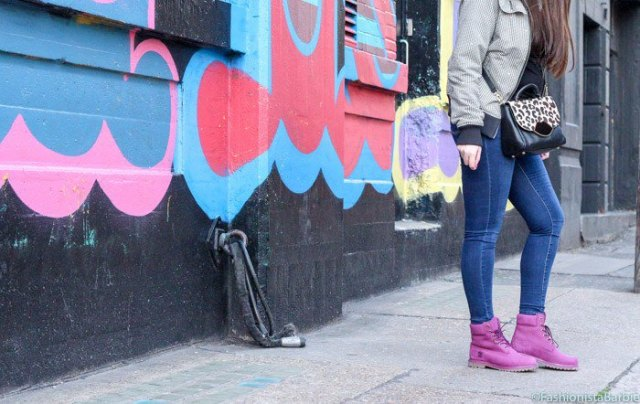 pink boots grey bomber jacket skinny jeans